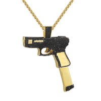 Black Gun Pistol Magazine Clip Charm Pendant  Necklace