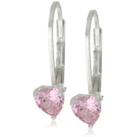 Disney Princess Sterling Silver Pink Heart Cubic Zirconia Lever Back Earrings