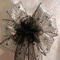 Halloween Spiderweb bow with sheer black center Fall Decoration
