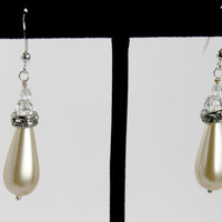 Ivory Bridal Earrings, Party Earrings, Swarovski Pearl with Crystal Rondelles and Sparkling Swarovski Crystal Beads