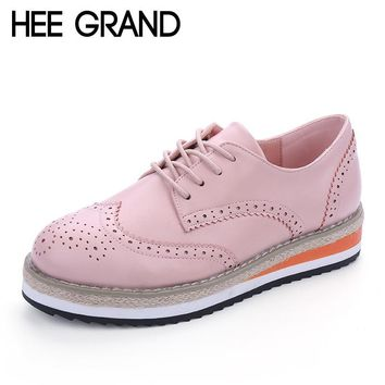 HEE GRAND Brogue Shoes Woman Candy Colors Platform Oxfords British Style Creepers Cut-Outs Flat Casual Women Shoes XWD4233