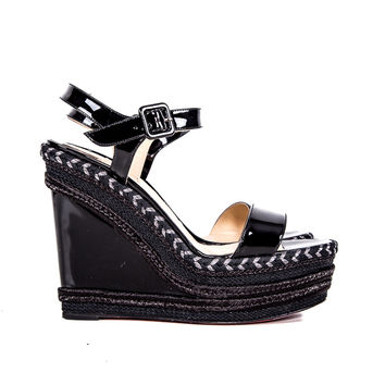 Black Patent Leather Wedge Sandals Size:39