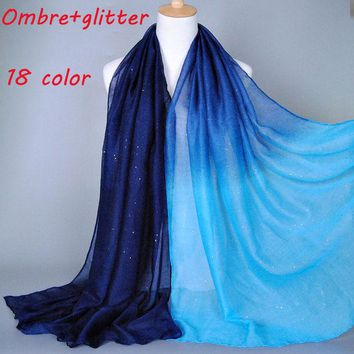 DCCKJG2 2015 Ombre glitter printe shade color cotton viscose shimmer long shawls head pashmina spring cotton hijab muslim scarves/scarf
