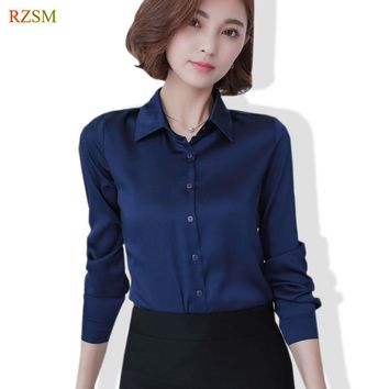S-XXL Women Fashion Silk Satin Blouse Button Ladies Mulberry Silk Blouse Shirt Casual Office Blue Red Long Sleeve OL Blouses