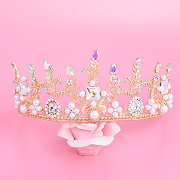 Sunshinesmile Vintage Wedding Bridal Crystal Pearl Gold Hair Headband Crown Tiara