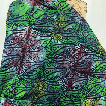 Made in Kenya--African Batik Print Fabric--Green, Yellow, Red, and Black Leaves--African Fabric by the HALF YARD