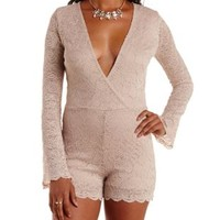 Sand Bell Sleeve Lace Wrap Romper by Charlotte Russe