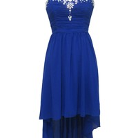 Blue Hi-Lo Strapless Dress with Sequin Embellished Neckline