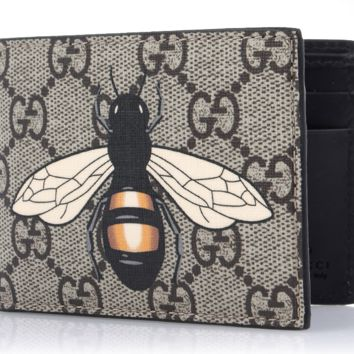GUCCI Men's GG Supreme Bee Symbol Half Wallet 451272 K5V1N 8666 Authentic