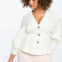 Pleated Front Puff Sleeve Top | Women's Plus Size Tops | ELOQUII