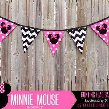 Minnie Mouse Polka Dot & Chevron Fabric Pennant Bunting Banner   - great for party decor, nursery, playroom, photo prop