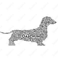 Daschund Word Art Calligram Dog Print