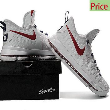 new concept db4df 8ba8f Really Cheap Big Boys Youth KD 9 Flyknit USA White Red shoe