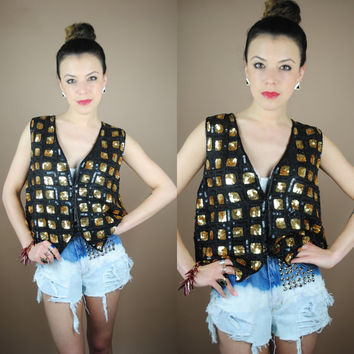Vintage 1980s Cropped Silk sequin black and gold jumper vest sparkle jacket S M L
