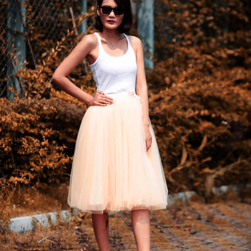 Tulle Skirt Tea length Tutu Skirt Elastic Waist tulle tutu Princess Skirt Wedding Skirt in Champagne - NC455