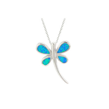 Opal Dragonfly Necklace 925 Sterling Silver 18 Inch Chain