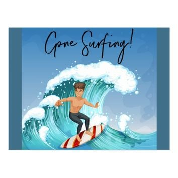 Gone Surfing Postcard