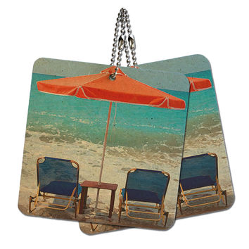 "Beach Chair Ocean Vacation Wood MDF 4"" x 4"" Mini Signs Gift Tags"