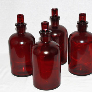 Rare Vintage Corning 1000ML Red Low Actinic Media Storage Bottle with #29 Red Glass Stopper