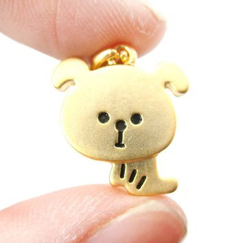 Cute Cartoon Puppy Dog Shaped Pendant Necklace in Gold | Animal Jewelry