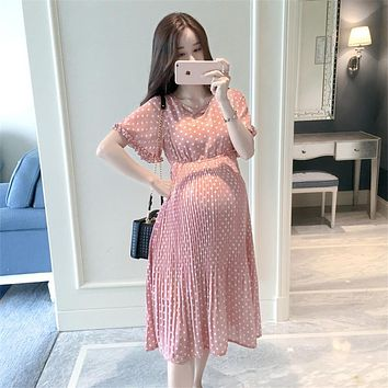 Women Maternity Dress Pregnant Clothing Fashion Loose Chiffon Soft Pink Plus Size Woman Maternity Clothes Pregnancy Dresses