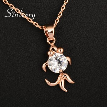 SINLEERY Cute Lovely Fish With  Cubic Zirconia Pendant Necklace Silver/Rose Gold Color Women Jewelry Gifts XL668 SSH