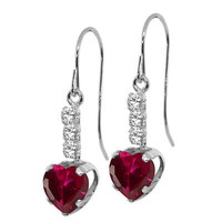 2.10 Ct Heart Shape Red Created Ruby 14K White Gold Earrings