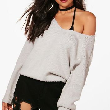 Lucy Cable Sleeve V Neck Jumper   Boohoo
