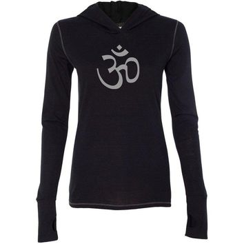 Ladies AUM Om Symbol Tri-Blend Hoodie tee Shirt