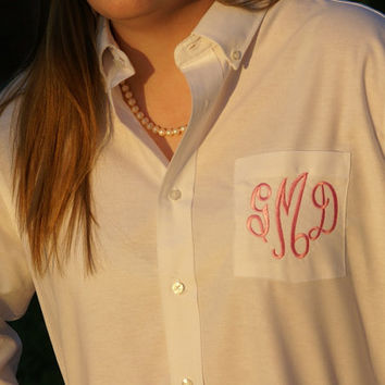 Monogrammed Button Down Shirt - Perfect for Brides and Bridesmaids