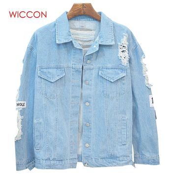 WICCON Korea Vintage Washing Frayed Embroidery Denim Jackets Casual Streetwear Patchwork Jeans Coat Female Spring Woman Jacket