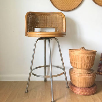 Mid Century Wicker Swivel Bar Stool,  1960s Tall Bamboo Counter Stool Chair, Tropical Bar Stool, Round Wicker Chair