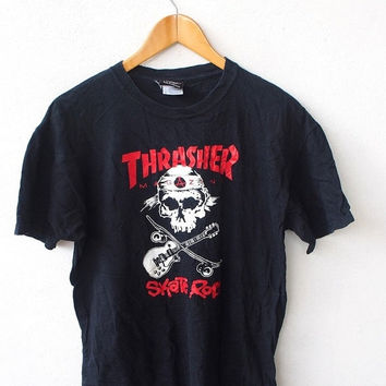 SALE 25% THRASHER Magazine Skateboards Skate Rod Skater Bones Powell Black 90's T shirt Size M
