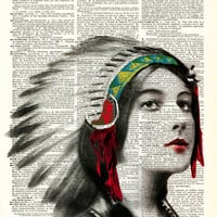 Pure Native Beauty Portrait Native American Print on Antique Upcycled Bookpaper