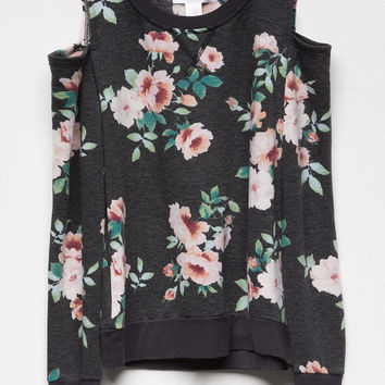 WHITE FAWN Floral Girls Cold Shoulder Sweatshirt