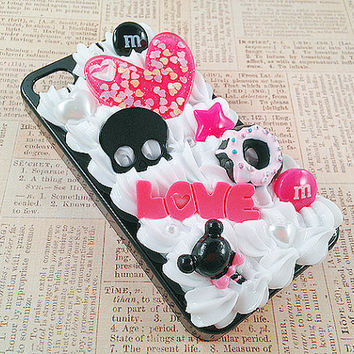 Black iPhone 4/4S Case - Kawaii Decoden Goth Punk Theme - Sweets Deco - Creepy Cute - Pink and Black - Snap on Case