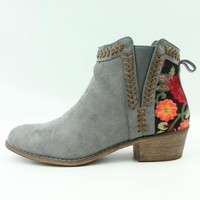 Embroidered Booties - Gray