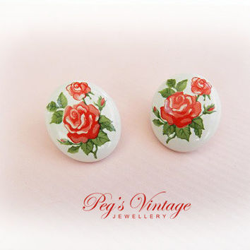 Pretty Vintage Red Flower Rose Earrings//Hand Painted On White Ceramic Pierced Oval Floral Earrings