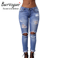 Burvogue 2016 New Ripped Jeans for Women Hollow Out Jeans Femme Skinny Butt Lifting Pencil Jeans Full Length Hole Style Jeans