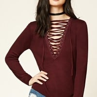 Plunging Lace-Up Top