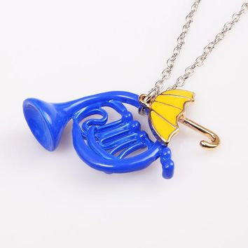 SG How I Met Your Mother Necklace Blue French Horn and Yellow Umbrella Pendant with silver chain Alice in wonderland Necklaces