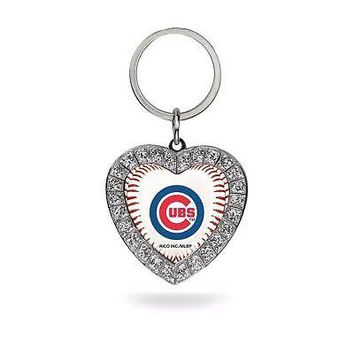 Chicago Cubs Rhinestone Heart Keychain