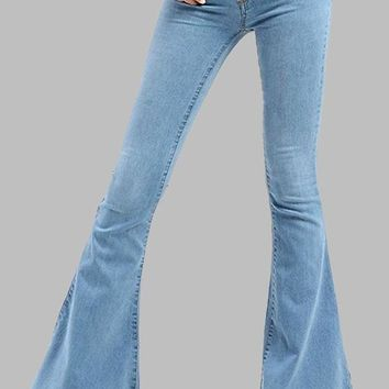 Light Blue Buttons Pockets Tassel Vintage Bell-bottoms Cute Long Jeans