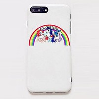 Moschino Stylish Cute Rainbow Little Pony Mobile Phone Case iphone 6 6plus iphone 7 7plus iphone 8 8plus iphone X +Soft Protective Case I12541-1