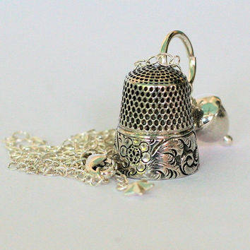Peter Pan Antique Thimble Necklace With Acorn Kisses Solid Sterling Silver Peter Pan and Wendy, Second Star Right