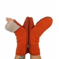 Convertible Mittens in Orange Mandarine and Burnt Orange - Recycled Wool - Fleece Lined