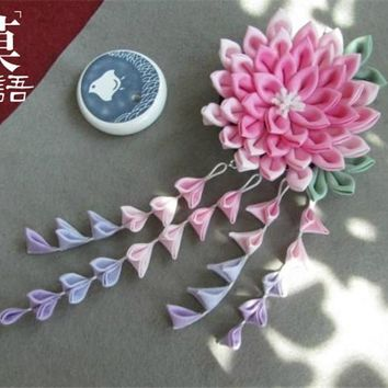 original hand made hairpin cotton cloth hair clip barrettes Japanese style anime cosplay accessories free shipping fringe pink