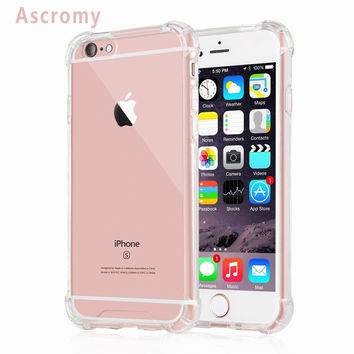 Ascromy For iPhone 6s Plus Case Transparent Hard Plastic Back Plate Soft TPU Gel Bumper Protection iPhon 6 5 5S 7 SE Accessories