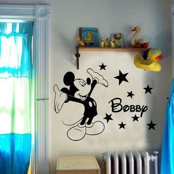 Personalised Mickey Mouse boys bedroom wall sticker Vinyl Decal Transfer Graphic