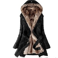 Faux fur lining women's fur Hoodies Ladies coats Sping winter warm long coat jacket cotton clothes thermal parkas